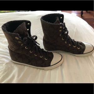 Coach high top sneakers with plush